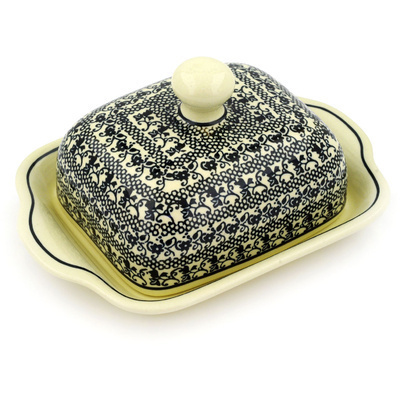 "Polish Pottery Butter Dish 8"" Black Lace"