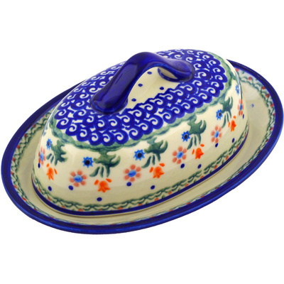 "Polish Pottery Butter Dish 8"" Spring Flowers"