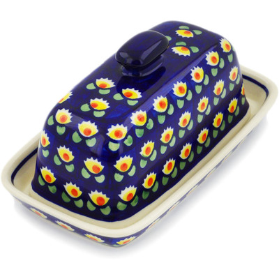 "Polish Pottery Butter Dish 8"" Waterlily"