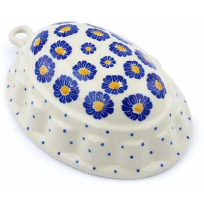 "Polish Pottery Cake Mould 7"" Blue Zinnia"