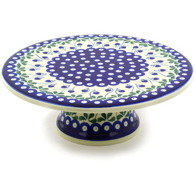 "Polish Pottery Cake Stand 11"" Bleeding Heart Peacock"