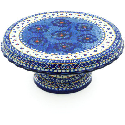 "Polish Pottery Cake Stand 11"" Blue Heaven UNIKAT"