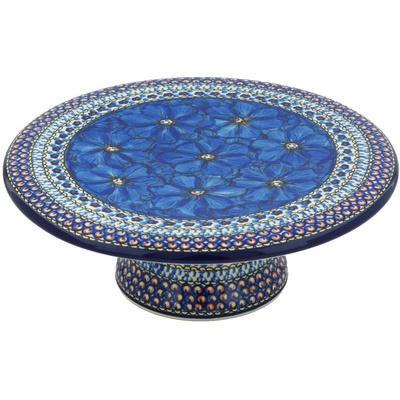 "Polish Pottery Cake Stand 11"" Cobalt Poppies UNIKAT"