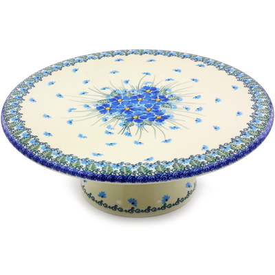 "Polish Pottery Cake Stand 11"" Forget Me Not"
