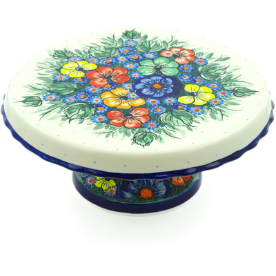 "Polish Pottery Cake Stand 11"" Summertime Blues"