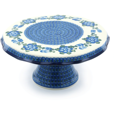 "Polish Pottery Cake Stand 12"" Blue Poppies"