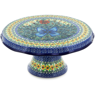 "Polish Pottery Cake Stand 12"" Butterfly Holly UNIKAT"