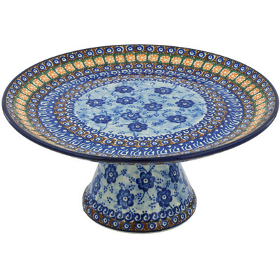 "Polish Pottery Cake Stand 12"" Dancing Blue Poppies UNIKAT"
