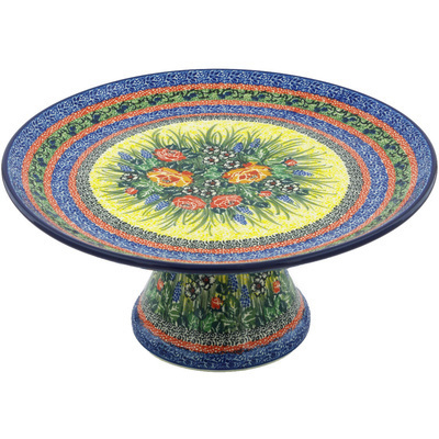 "Polish Pottery Cake Stand 12"" Splendid Morning Glow UNIKAT"