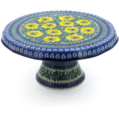 "Polish Pottery Cake Stand 12"" Yellow Sunflowers UNIKAT"