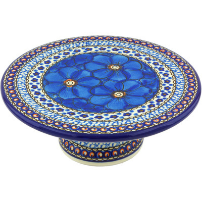 "Polish Pottery Cake Stand 8"" Cobalt Poppies UNIKAT"
