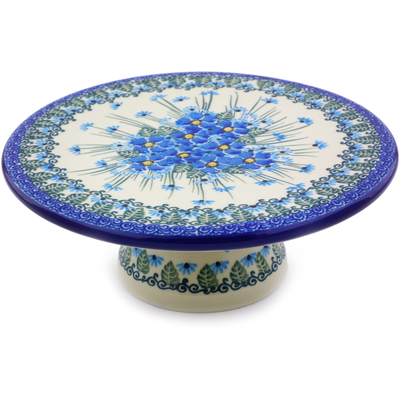 "Polish Pottery Cake Stand 8"" Forget Me Not UNIKAT"