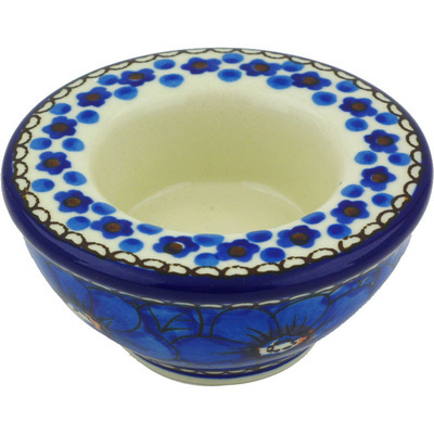 "Polish Pottery Candle Holder 3"" Cobalt Poppies UNIKAT"