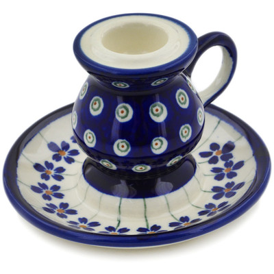 "Polish Pottery Candle Holder 4"" Flowering Peacock"