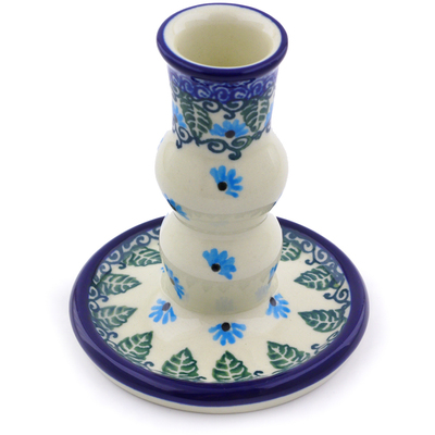 "Polish Pottery Candle Holder 4"" Forget Me Not"