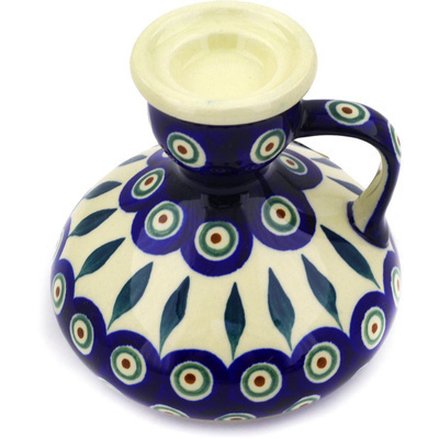 "Polish Pottery Candle Holder 4"" Peacock Leaves"