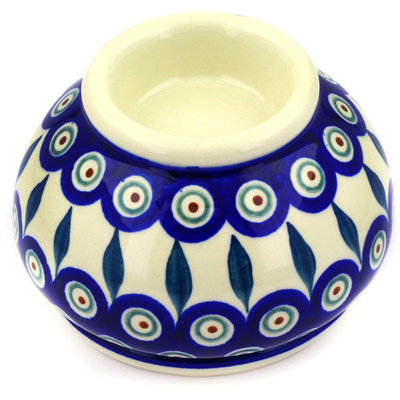 "Polish Pottery Candle Holder 5"" Peacock Leaves"