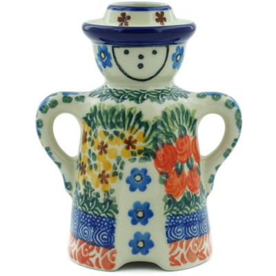 "Polish Pottery Candle Holder 5"" Perennial Border UNIKAT"