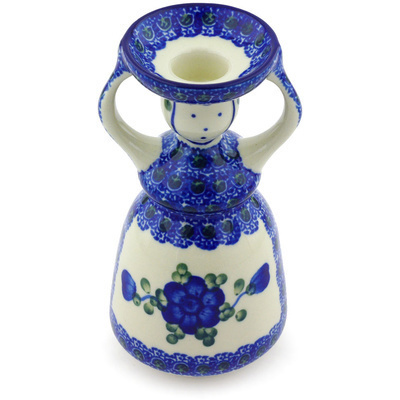 "Polish Pottery Candle Holder 6"" Blue Poppies"