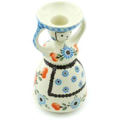 "Polish Pottery Candle Holder 6"" Cherry Blossoms"