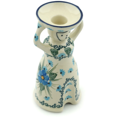 "Polish Pottery Candle Holder 6"" Forget Me Not"