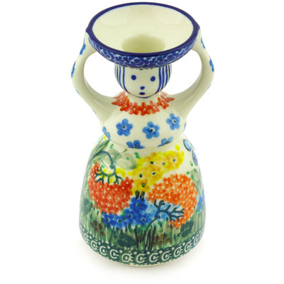 "Polish Pottery Candle Holder 6"" Garden Delight UNIKAT"