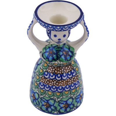"Polish Pottery Candle Holder 6"" Mardi Gra UNIKAT"