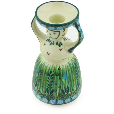 "Polish Pottery Candle Holder 6"" Prairie Land UNIKAT"
