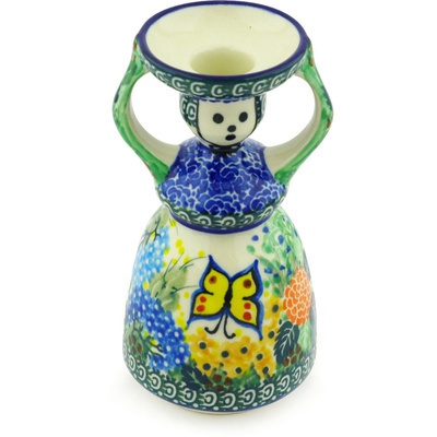 "Polish Pottery Candle Holder 6"" Spring Garden UNIKAT"