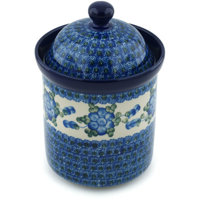 "Polish Pottery Canister 8"" Blue Poppies"