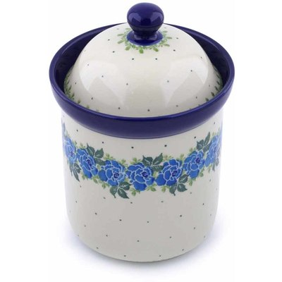 "Polish Pottery Canister 8"" Blue Rose"