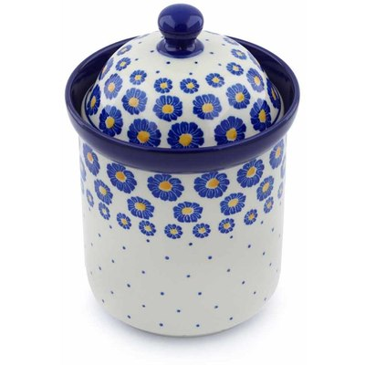 "Polish Pottery Canister 8"" Blue Zinnia"