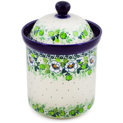 "Polish Pottery Canister 8"" Daisies Wreath UNIKAT"