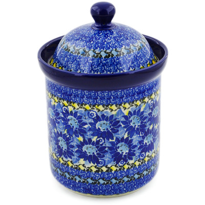 "Polish Pottery Canister 8"" Deep Blue UNIKAT"