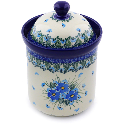 "Polish Pottery Canister 8"" Forget Me Not"