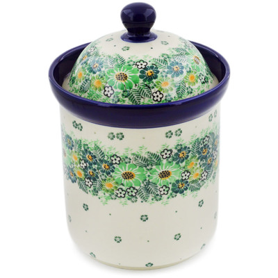 "Polish Pottery Canister 8"" Green Wreath UNIKAT"