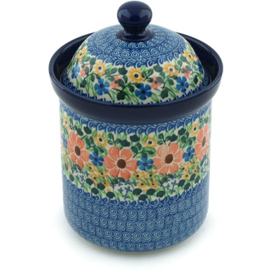 "Polish Pottery Canister 8"" May Flowers UNIKAT"