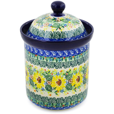"Polish Pottery Canister 8"" Yellow Garden UNIKAT"