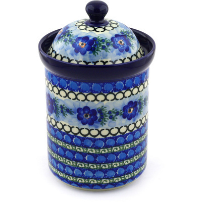 "Polish Pottery Canister 9"" Blue Delight UNIKAT"