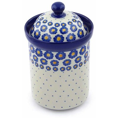 "Polish Pottery Canister 9"" Blue Zinnia"