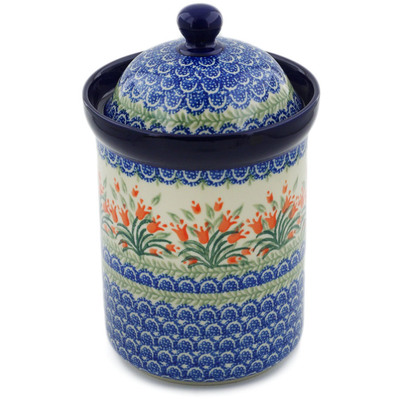 "Polish Pottery Canister 9"" Crimson Bells"