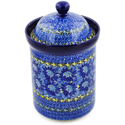 "Polish Pottery Canister 9"" Deep Blue UNIKAT"