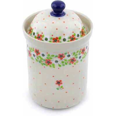 "Polish Pottery Canister 9"" Poppy Flower"