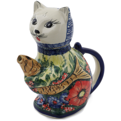 Polish Pottery Cat and Fish Creamer 17 oz The Meadow In The Early Morning UNIKAT