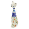 "Polish Pottery Cat Figurine 10"" Pansy Morning"