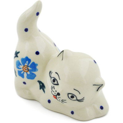 "Polish Pottery Cat Figurine 3"" Blue Cornflower"