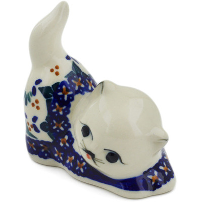 "Polish Pottery Cat Figurine 3"" Blue Cress"