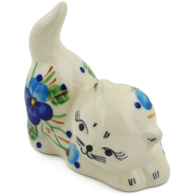 "Polish Pottery Cat Figurine 3"" Blue Pansy"