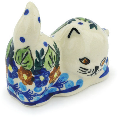 "Polish Pottery Cat Figurine 3"" Bold Poppies UNIKAT"