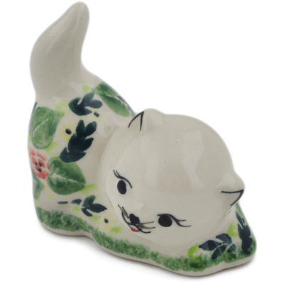 "Polish Pottery Cat Figurine 3"" Flor-de-lis UNIKAT"